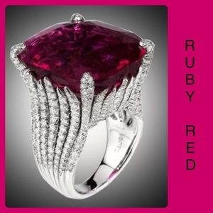 Ruby Red Silver Cocktail Ring Huge Dramatic Beauty